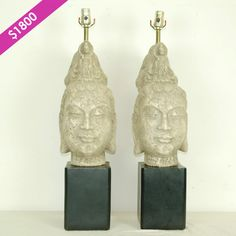 """Pair of Buddha Lamps! 29.5""""tall to socket x 5.5""""wide base....We offer a wide variety of furniture and accessories. We are located in the Dallas Design District. We can ship to any location in the US. visit us at www.againandagain.com  www.facebook.com/againdesign"""