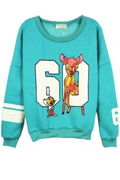 Bambi sports sweater, so cute!! Street-chic 60 Graphic Sweatshirt OASAP.com