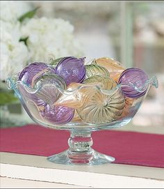 Fill the Ruffle Glass Bowl from Willow House with pretty glass ornaments  www.denisecosgrove.willowhouse.com