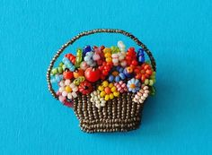 Mini Vintage Molded Pressed Glass Seed Bead Cluster Flower Basket Brooch Pin #Unbranded
