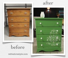 How to refresh a brown chest of drawers - before and after green with stencil