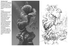 Rendering and Art Direction notes on a layout by Stefano Moroni on a game currently in production. The grayscale painting and the notes on the left are mine--translating the rough layout into a style consistent with a game currently in production. © Goodgame Studios Altigi GmbH. All rights reserved.