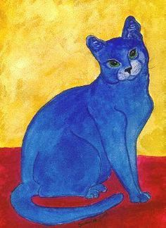how cute. blue cat- background in the other primary colors.