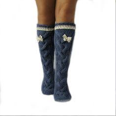 Long jeans color socks Long socks with a  lace Hand knit socks Hand made socks Wool socks Warm winter socks Knee high Socks