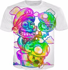 Unisex Size Frida Abstract Print Multi-Color T-Shirt Psychedelic Hippie Bohemian Festival Shirt