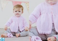 Daisy Trim Coat Brand: Elle Count: Yarn: Babykins Size From: Premature Size To: 24 months Knitting For Kids, Baby Knitting Patterns, Baby Patterns, Top Pattern, Free Pattern, Coat Patterns, Baby Sweaters, Knit Crochet, Baby Kids