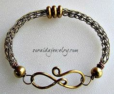 This beautiful yellow brass bracelet features a unique hand forged clasp that looks great worn on the front of your wrist. It has been created out of heavy gauge brass wire, shaped into a figure eight Handmade Wire Jewelry, Wire Wrapped Jewelry, Jewelry Clasps, Jewelry Art, Jewelry Ideas, Maille Viking, Viking Knit Jewelry, Knit Bracelet, Ancient Jewelry