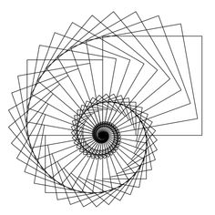 This figure was drawn with Python turtle graphics. A square is repeatedly drawn, then rotated and rescaled. Code at github.