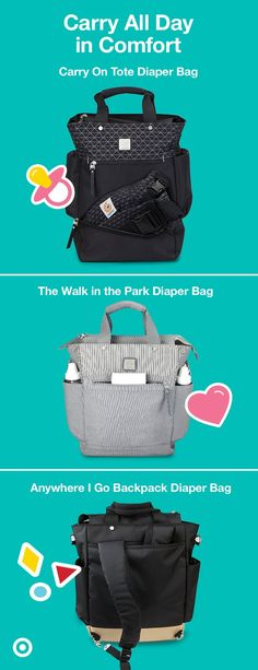 ErgoBaby diaper bags are thoughtfully designed, comfortable to carry and ergonomic. The Carry-On tote, The Walk in the Park diaper bag and the Anywhere I Go backpack are made to be comfortable for everyday use, with ergonomically padded and shaped shoulder straps. Each bag features convenient, insulated bottle pockets and tons of storage for all of Baby's (and your) must-haves. Plus, they're designed to keep everything easily accessible, with zip closures, changing pads and easy-zip pulls.