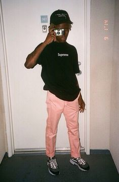 Ian Connor in Supreme x Pink Dolphin x Skechers