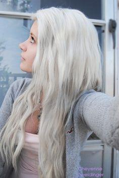 Long white wavy hair
