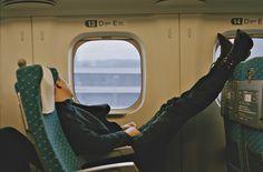 Oliver Sim on a Japanese bullet train