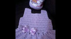 221c5d6879056 1 parte do vestido de bebê com pérolas Eliete Massi. How to Crochet baby  party dress. Emanuel Dias