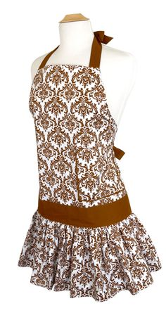 Womens Apron Sadie Brown Damask Front   COOK20 – 20% off entire order - expires: 09/01/2014