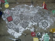 Getting to grips with shapes! This activity can also be great for mark making. Best outdoors this one, tiz a bit messy but easily cleaned. This is shaving foam! Squirt and spread across your surface. We then used our plastic shapes as templates and with our fingers drew around the outside, lifted up and had created our shapes which we then talked about. Great for shape classification!