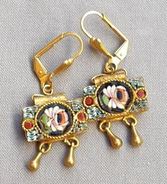 Victorian Style Micro Mosaic Drop Dangle Earrings