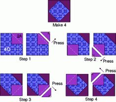 Traditional square-in-a-square technique via McCall's Quilting