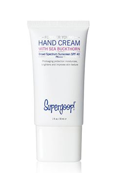 Shop the latest collection of Supergoop! Forever Young Hand Cream Sea Buckthorn Broad Spectrum SPF 40 from the popular stores - all in one Anti Aging Hand Cream, Lighten Dark Spots, Broad Spectrum Sunscreen, Hand Lotion, Forever Young, 1 Oz, Anti Aging Skin Care, At Least, Hand Creams