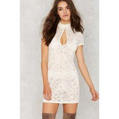 Nasty Gal Into Full Sheer Lace Dress ($58) ❤ liked on Polyvore featuring dresses, ivory, winter white dress, sheer dress, white dress, bodycon dress and white cap sleeve dress