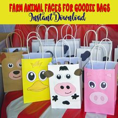 This FARM Animal Faces Favor Bags is just one of the custom, handmade pieces you'll find in our party favors shops. Farm Animal Party, Farm Animal Birthday, Farm Birthday, Farm Party, 1st Birthday Party For Girls, Little Man Birthday, Birthday Ideas, Favor Bags, Goody Bags