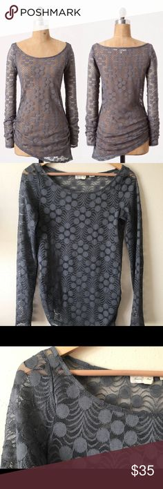 "Anthropologie Meadow Rue Zoey Pullover Size Small. Excellent used condition! Gray lace long sleeve top. Dotted pattern.  97% polyester/3% spandex Approximate Measurements (laying flat): Bust: 17"" Length: 23"" at the shortest length, 29"" at the longest. Anthropologie Tops Tees - Long Sleeve"