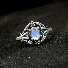 Moonstone Ring: Sterling Silver and Rainbow Moonstone - blue flash, faceted oval, antique setting, renaissance ring, victorian on Etsy, $58.00