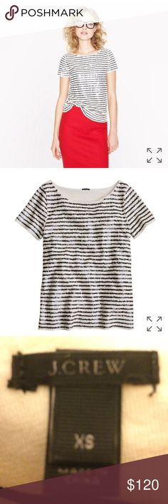 J CREW SEQUIN STRIPE TOP Forever-chic sailor stripes rendered in hand-finished sequins for a luxe texture and just a touch of shimmer. A bateau neckline and a slim, slightly A-line silhouette cement the feminine feel. SLIM FIT. COTTON. HAND WASH. ONLY USED TWICE. J. Crew Tops Blouses