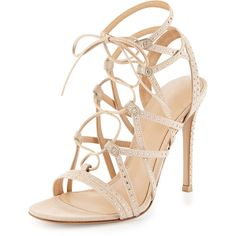 40fc073c7498 Gianvito Rossi Crystal-Embellished Suede Lace-Up Sandal (16 955 SEK) ❤