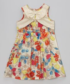Look what I found on #zulily! Beige Floral A-Line Dress - Toddler & Girls by Yo Baby #zulilyfinds