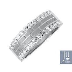Para Hombre 14k Oro Blanco Satinado Ladrillo patrón de diamante Edge 8 Mm Anillo de bodas de 1 Ct
