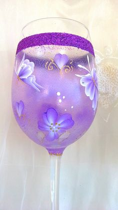 Handpainted wine glasses,  hand painted  large wine glass with butterflies. Goblet.