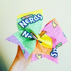 Nerds candy Cheer Bow rainbow Colors
