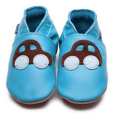 Turquoise Baby Boys Shoes with Car Motif by Inch Blue £15