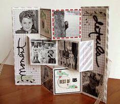 Unusual minialbum: this is the album when open Briciole di Scrapbooking: Mini Album InstaLove Mini Albums Scrap, Mini Scrapbook Albums, Scrapbook Cards, Ppr, Card Tags, Book Making, Mini Books, Xmas Cards, Folded Cards