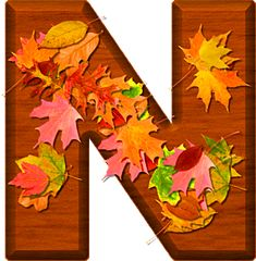 Presentation Alphabets: Cherry Wood Leaves Letter N Alphabet Letters Design, Alphabet Names, Monogram Alphabet, Alphabet And Numbers, Preschool Crafts, Crafts For Kids, Leaf Crafts, Fall Fest, Dahlia Flower