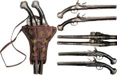 Ottoman flintlock kubur (holster pistols) and holster (kuburluk), hardwood stocks with relief carving, bordered iron furniture and profiled and engraved silver escutcheons, the locks with all elements scrolled, engraved and silver-inlaid with pseudo-Latin character marks beneath the pans. The stepped barrels octagonal at the breech with round muzzles inlaid in silver, inscribed:WORK OF HASSAN OWNER MALIK AHMET YEAR 1216 (1801), leather holster with flint pocket, 18th to 19th c, length 49.2…