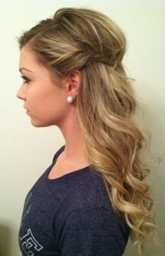 half up style - wavy curls with side twist. Bridesmaid hair for next wedding I'm in maybe Homecoming Hairstyles, Wedding Hairstyles, Mother Of The Bride Hairstyles, Bridesmade Hairstyles, Grecian Hairstyles, Semi Formal Hairstyles, Romantic Hairstyles, Wedding Hair And Makeup, Hair Makeup