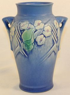 Roseville Pottery Clemana Blue Vase 751-7 from Just Art Pottery