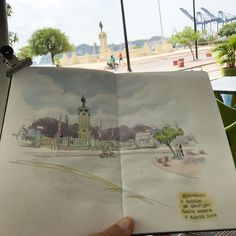 Sketching in Santa Marta, Colômbia. After the busy days in Bogotá this small city looks perfect! #worldsketchingtour #southamerica #colombia #santamarta