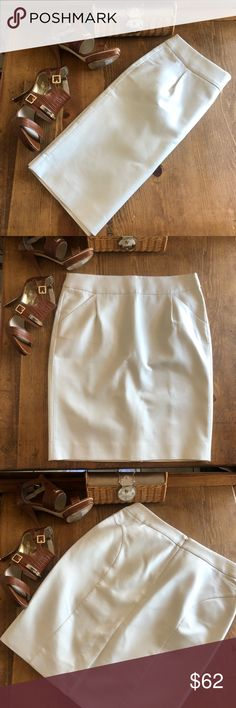 """J. Crew The pencil skirt cream color size 10. J. Crew The pencil skirt color is called Natural which is a cream color. Waist measures 17"""", length 22.5. Slit in back 6"""".  100% cotton dry clean only. Skirt is not lined but has a thicker material. Two pockets in front. Hidden zipper in the back. All measurements are approximate and taken lying flat. I am not a professional photographer so color may appear differently on your device. Smoke free, pet friendly home. Take home this gorgeous skirt…"""