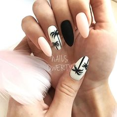 """If you're unfamiliar with nail trends and you hear the words """"coffin nails,"""" what comes to mind? It's not nails with coffins drawn on them. It's long nails with a square tip, and the look has. Summer Acrylic Nails, Best Acrylic Nails, Matte Nails, Cute Summer Nail Designs, Cute Summer Nails, Nail Summer, Summer Nails 2018, Summery Nails, Simple Nails"""