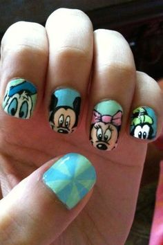 Mickey mouse nail polish style for teen girls