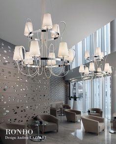 RONDO LA6+3, Lustre, Métal chromé et cristal vernis, Design Andrea LAZZARI
