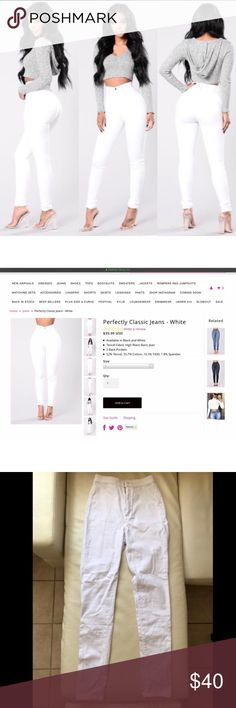 "FASHION NOVA high waisted white skinny jeans Waist 26"" Inseam 30.5"" / Rise 12"" Length 42.5"" Hips 35"" Fashion Nova Jeans Skinny"