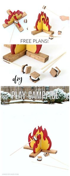 Make a campfire indoors with this fun and easy DIY play campfire made from scrap wood. Another awesome gift plan from Ana White. toys to make for kids easy diy DIY Play Campfire - Jaime Costiglio Woodworking For Kids, Easy Woodworking Projects, Custom Woodworking, Woodworking Classes, Woodworking Lathe, Diy Baby Gifts, Diy Gifts For Kids, Diy For Kids, Wood Projects For Beginners