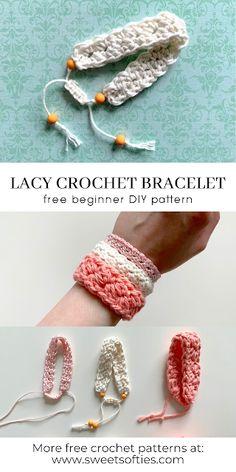 Diy Crochet Hook, Quick Crochet Patterns, Crochet Jewelry Patterns, Crochet Crafts, Crochet Yarn, Bracelet Patterns, How To Crochet, Crochet Accessories Free Pattern, Diy Crochet Jewelry
