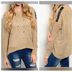 """Tan loose fit sweater w leather and stars detail This fun playful long sleeve sweater top features a loose semi sheer knit construction with ribbed detailing and leather accent on left shoulder. 65% acrylic 35% nylon. B25"""" W21"""" FL21"""" BL24""""   *S/M  No trades and I don't sell on that place that begins w an M. @amyleigh71 Sweaters"""