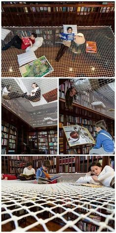 Kids would love this mothers and librarians would freak. Kids would jump and hurt themselves getting caught in the netting. Cool but probably not a particularly good idea. Kids would LOVE visiting the library if it was like thi Kids Library, Library Design, Learning Spaces, School Architecture, Kid Spaces, School Design, Kids Bedroom, Room Kids, Future House