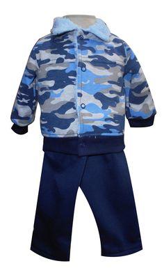 Chamarra con puños y forro de borrega y pantalón d felpa. Tallas 3, 6, 12 y 18 meses.