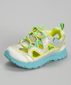 Silver & Turquoise Nebula Sport Sneaker by OshKosh B'gosh on I've been really disappointed in the options for sporty closed-toe sandals for my rambunctious daughter. Closed Toe Sandals, Nina Shoes, To My Daughter, Daughters, Cute Kids, Sneakers, Cute Outfits, Sporty, Turquoise